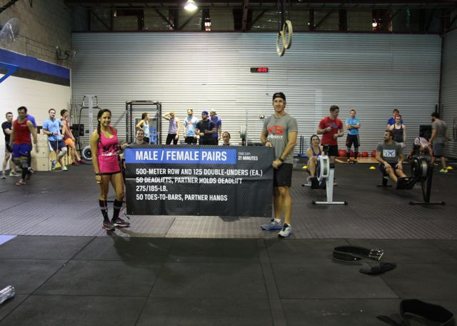Nat and Chris from Hervey Bay introduce the Regional Team WOD last Saturday. Good times.